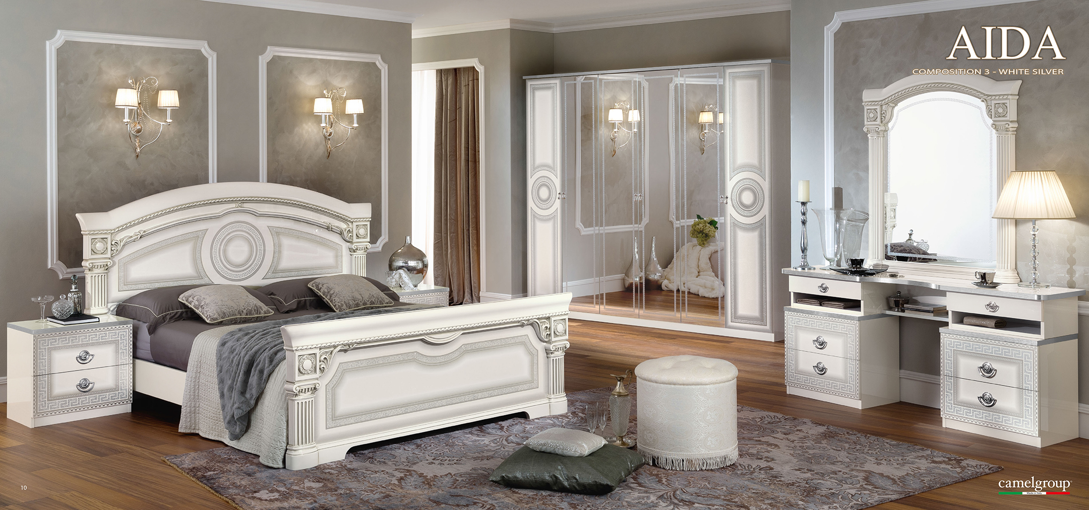 Aida White w/Silver, Camelgroup Italy, Classic Bedrooms, Bedroom ...